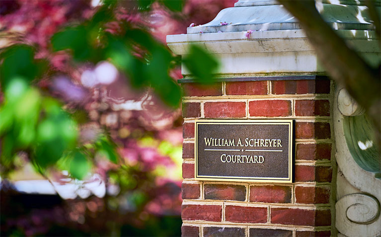 Sign commemorating the Schreyer Honors College William A. Schreyer Courtyard at Atherton Hall
