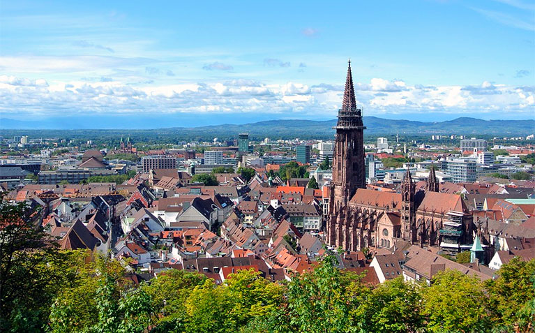 Wide view of Freiburg, Germany