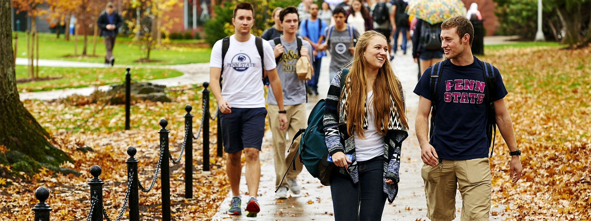 First-year Schreyer Scholars walking on campus