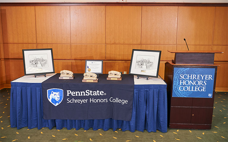 Schreyer Honors College alumni awards displayed at the ceremony