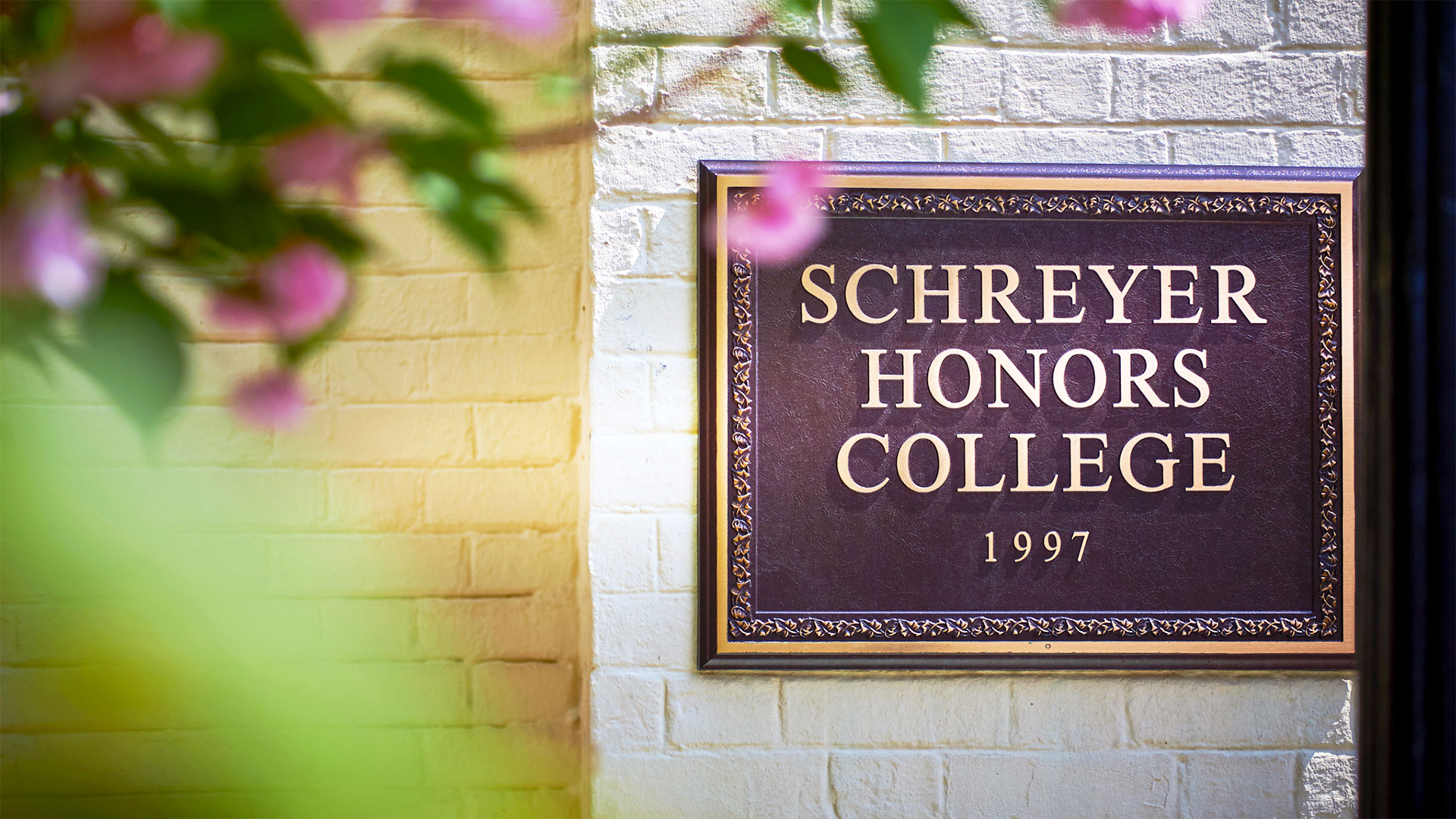 Schreyer Honors College sign at Atherton Hall