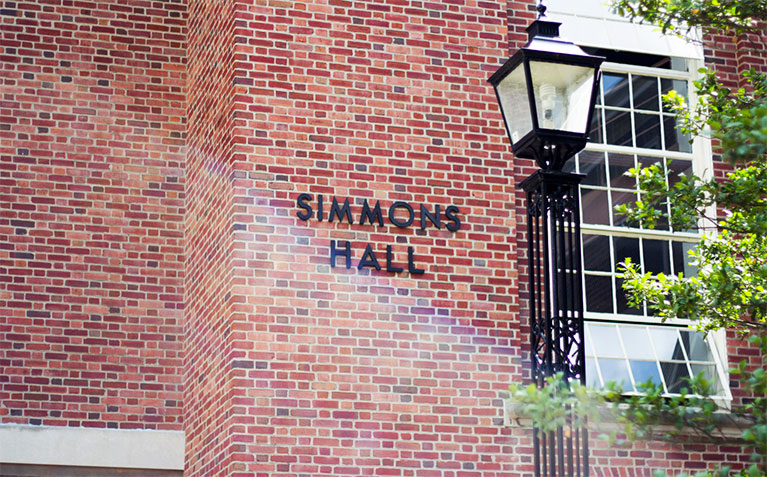 Simmons Hall sign on the front of the building